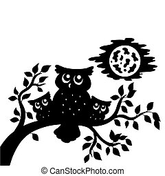 Silhouette of three owls on branch