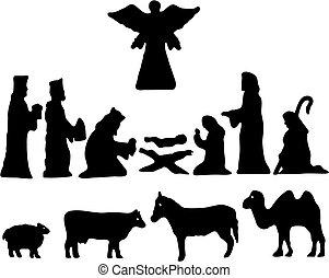Silhouette Illustration . Star of Bethlehem. Nativity. Christmas