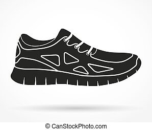Silhouette symbol of Shoes running and fitness sneakers. Vector illustration.