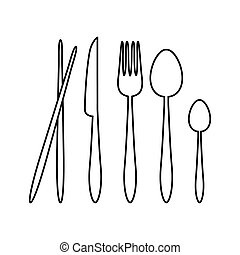 Silhouette Vector Spoon, Fork, Knife, and Chopsticks Cutlery on the Restaurant Sign