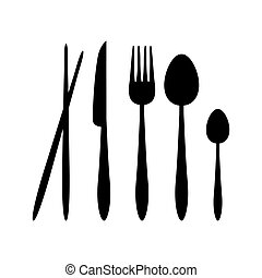 Silhouette Vector Spoon, Fork, Knife, and Chopsticks Cutlery on the Restaurant