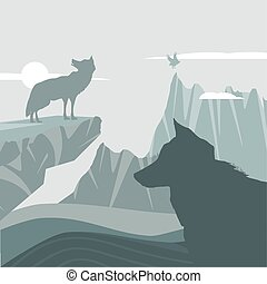 silhouette wolves in mountains landscape