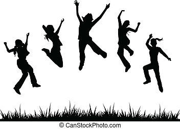 silhouettes kids jumping for children, fun, activity and others