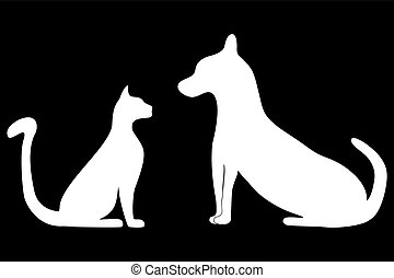 silhouettes of cat and dog