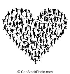 Silhouettes of children in heart shape