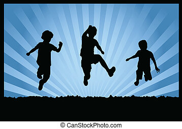 Silhouettes of children jumping on abstract background - vector