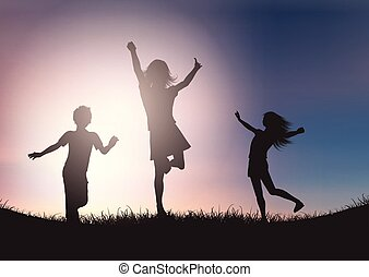 Silhouettes of children playing against sunset sky
