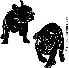 silhouettes of dogs french bulldog