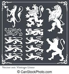 Silhouettes of heraldic elements vector