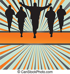 Silhouettes of runners vector in front of colorful burst background for poster