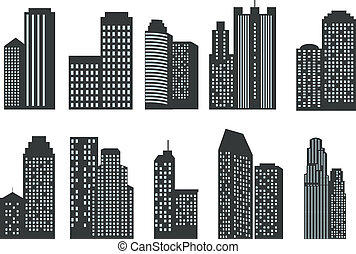 Silhouettes of skyscrapers. Vector set