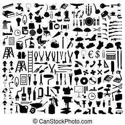 Silhouettes of various subjects and tools. A vector illustration