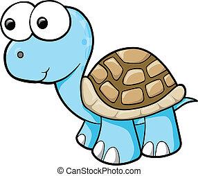 Silly Blue Turtle Animal Wildlife Vector Illustration Art