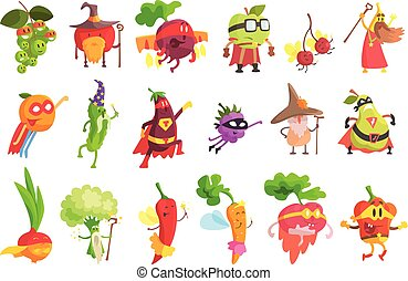 Silly Fantastic Fruit And Vegetable Characters Set. Vegetables As Magicians And Superheroes, Flat Geometric Design Childish Stickers On White Background.