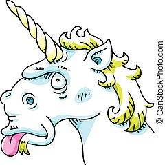 A silly cartoon unicorn sticking out its tongue.