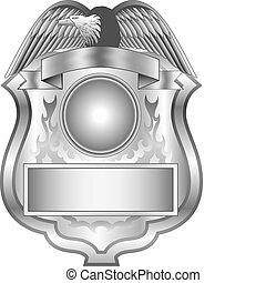 Illustration of a silver shield badge.