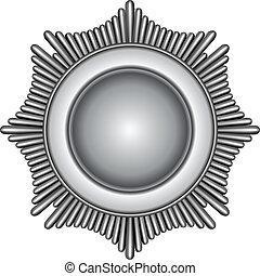 Illustration of a silver star burst badge.