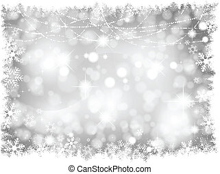 Decorative silver lights Christmas background with snowy border