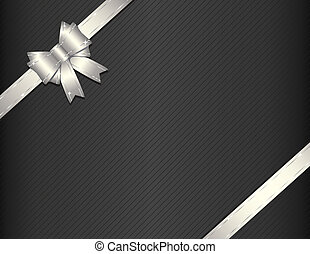 Silver ribbon on gift paper vector illustration