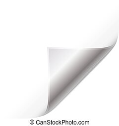 Silver page curled corner. Easy to edit vector image.