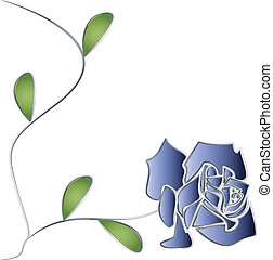 Silver Rose with stem and leaves illustration vector
