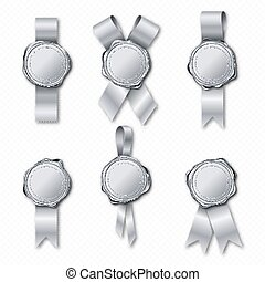 Silver wax seal stamp with ribbon approval sealing