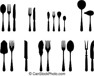silverware complete set black and white silhouettes
