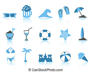 isolated simple blue beach icons on white background
