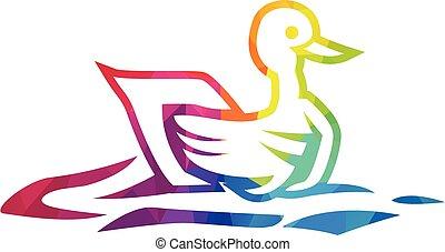 Simple colorful elegant duck logo.