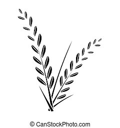 simple flat black rice plant icon vector