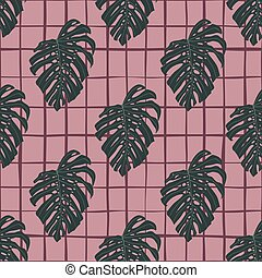 Simple floral seamless doodle pattern with green monstera ornament. Pink chequered background.