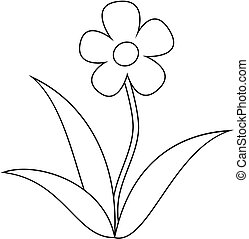 Simple flower clipart, coloring book for children.