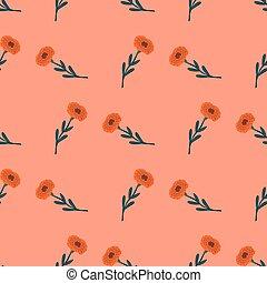 Simple flower seamlessp pattern in hand drawn modern style. Pink background.