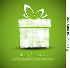 Simple green Christmas card with a gift made from rectangles