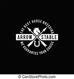 Simple Horse Ranch Stable Stallion with Cross Arrow Logo Design