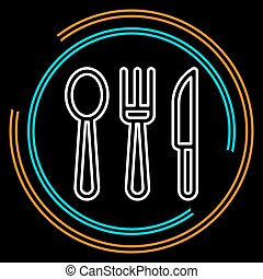 Simple Knife, Fork and Spoon Thin Line Vector Icon