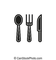 Simple Knife, Fork and Spoon Vector Icon