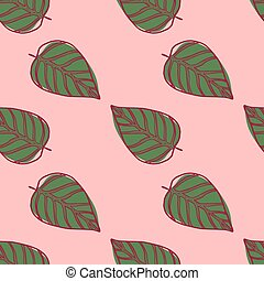 Simple leaf ornament seamless pattern. Green floral shapes with red contour on light pink background.