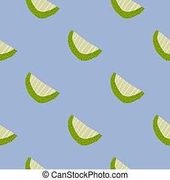 Simple minimalistic seamless pattern with clices forms. Green and light fruit shapes on blue background.
