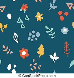 Simple minimalistic seamless pattern with flowers and abstract shapes