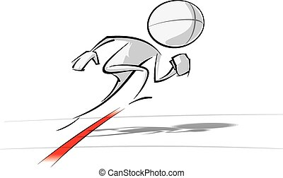 Sparse vector illustration of a of a generic cartoon character starting a race.