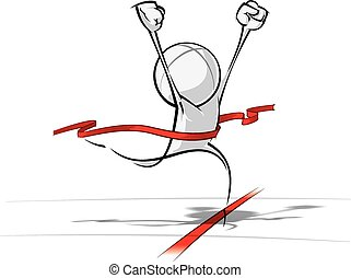 Sparse vector illustration of a of a generic cartoon character winning a race.