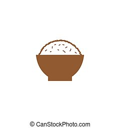 Simple rice on a bowl silhouette logo design template vector