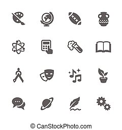 Simple Set of School Subject Related Vector Icons. Contains such icons as art, math, music, and more.
