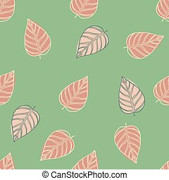 Simple seamless random pattern with oultine leaves. Pink tones contoured botanic shapes on green background.