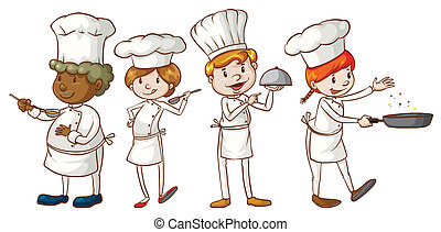 Illustration of the simple sketches of chefs on a white background