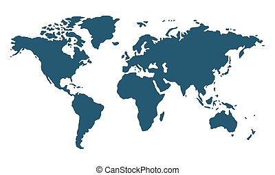 Simple world map in flat style isolated on white background. Vector illustration