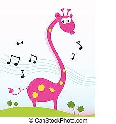 Funny jungle giraffe sing a song. Vector Illustration.