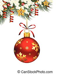 Single hanging Christmas ornament on pine branches with snow, stars and streamers on it.