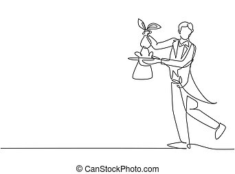 Single continuous line drawing the magician puts on a show by getting a rabbit out of his magic hat. Very impressive magic show that night. Dynamic one line draw graphic design vector illustration.
